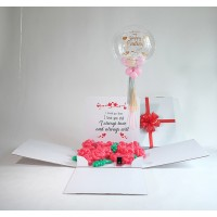 Personalized Surprise Box Personalized Bubble + Bed of roses